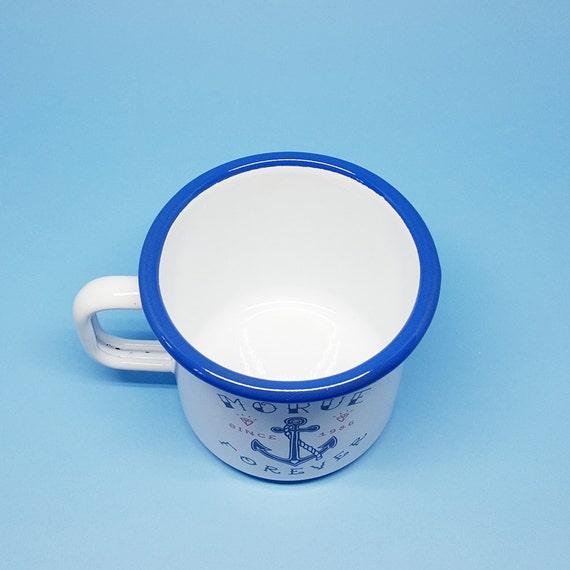 Bien-aimé Mug Émaillé Morue Forever émail bleu et blanc ZE48