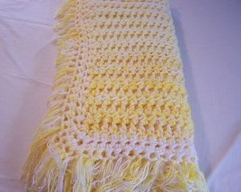 Crochet Blanket - Yellow Crochet Blanket - White Crochet Blanket - Baby Blanket - Baby Crochet Blanket - Crochet Lap Blanket - Blanket