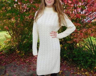 80s Cream Cable Knit Sweater Dress Turtleneck Dress