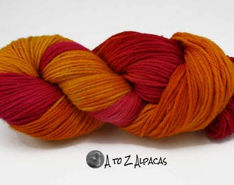 Hand Dyed Royal Baby Alpaca Yarn Bulky Weight Sunset