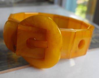 Butterscotch Amber Bakelite Buckle bracelet