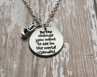 Be the change peace necklace