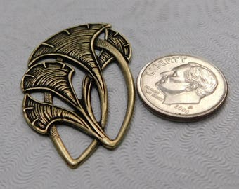 LuxeOrnaments Oxidized Brass Filigree Art Nouveau (Qty 1) 39x22mm AT-829-B