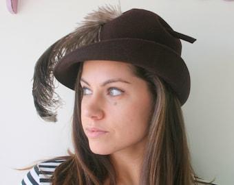 Vintage Mid Century Hat...feathered hat. church. fall. wedding. bride. costume. 1950s hat. 1960s hat. fur hat. brown. audrey hepburn. mod