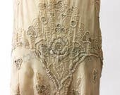 RESERVED....1920s Silk Beaded Rhinestone Flapper Dress AS IS