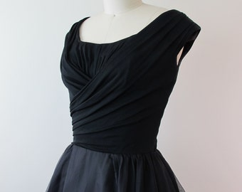 1950s Silk Jersey and Organza Party Dress