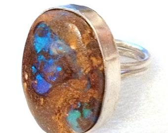SUPER SALE Boulder Fire Opal sterling silver ring