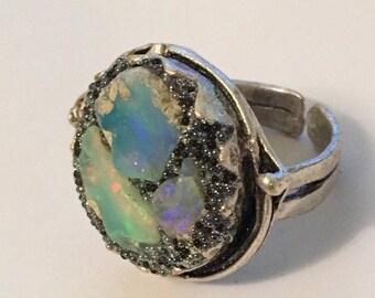 SUPER SALE 3 raw fiery opal ring