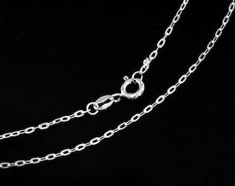 18 inches of 925 Sterling Silver Flat Cable Chain Necklace 1x2.5 mm. , Delicate Chain  :th2564-18