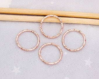4 of 925 Sterling Silver Rose Gold Vermeil Style  Diamond Cut Circle Links, Connectors 12 mm.  Polish Finished  :pg0504
