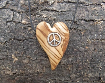 Heart shaped olive wood pendant  inlaid peace symbol