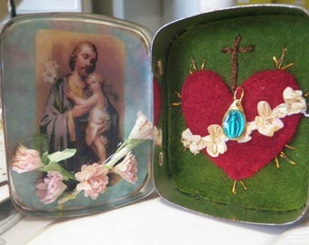 Rosary Keeper St. Joseph Vintage Tin with Italian Wooden Rosary and Miniature Miraculous Medal Hand Stitched Embroidery
