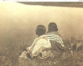 20% OFF Piegan Idle Hour Print by Edward S. Curtis, Blackfoot, Native American Indian Couple, Vintage 14x17 Ethnic Sepia Book Plate, FREE Sh