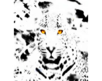 Ghostly Golden-Eyed Leopard, Printable Digital Download, 2 Sizes Included 8x10 & 11x14, Surreal BW and Color Wildlife Feline Art