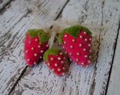 Vintage/Antique Velvet Strawberries with pearl accents, Lot of 3