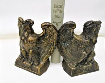 Vintage Brass Bookends | Eagle Bookends | Bird Bookends | American Eagle Book Ends | Patriotic Decor