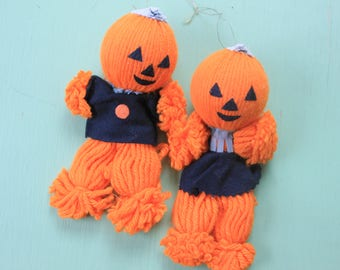 Pair of Orange Jack O Lantern Yarn Dolls, Japan, Halloween