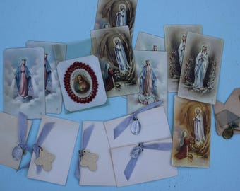 Vintage Religious Prayer Cards Set and Religious Charms, Italy, Assorted