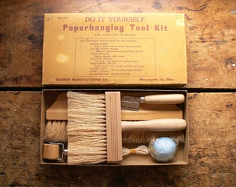Vintage Wallpaper Hanging Tool Kit in Original Box - Wallpaper Brushes, Knives, Rollers and Plumb Line