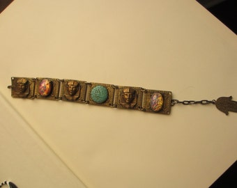 50's  Vintage Egyptian Sphinx Faux Opal Turquoise Bracelet