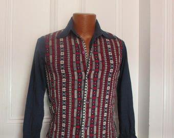 Vintage Men's 50's Ethnic Hand Woven Shirt Rockabilly Hippie small