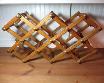 Vintage Oak Folding Wine Rack, Accordion Folding Bottle Rack, Rolling Pin Holder