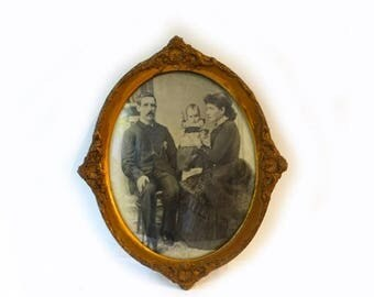 ON SALE Antique 19th century oval studio portrait family photo in large ornate oval gilt frame with convex glass, Victorian frame