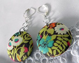 Liberty green fabric earrings