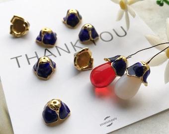 10pcs Tulip Blue Bell Flower Bead Caps-Blue Glaze Coating