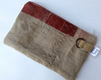 HOLIDAY BLOWOUT RED - reconstructed vintage 1942 japanese mail bag small pouch