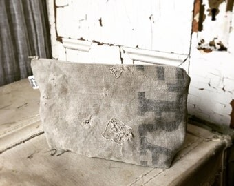 DARN - reconstructed vintage postes france mail bag zippered pouch