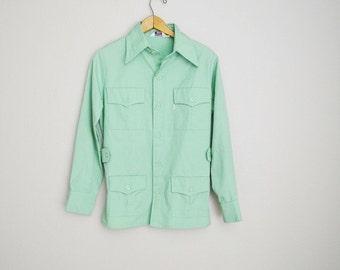 vintage 1970s light mint green LEVI'S shirt jacket -- womens medium