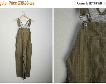 Memorial SALE - 15% off - vintage linen blend brown olive green striped cropped capri overalls -- womens medium large