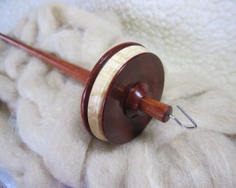 Drop Spindle in Bloodwood & Pennsylvania Curly Maple, Silly Salmon Spindle, Silly Salmon Designs