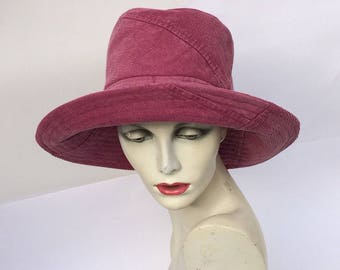 Recycled fabric hat,Pink hat,reversible sun hat,wide brim hat,upcycled fabric ,travel hat,festival hat,ladies hat,fabric hat,