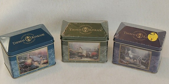 3 Thomas Kinkade Limited Edition 100 Pc Puzzles In collector Cottage Tin