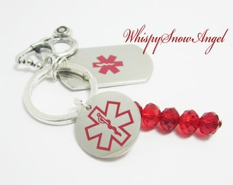 Nurse Keychain Doctor Key Ring Medical Worker Paramedic Keychain Caduceus Stainless Steel Tags Stethoscope Charm