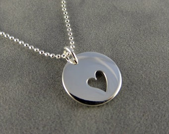 Silver Heart Cutout Charm Necklace - Love - Gift Idea for Her