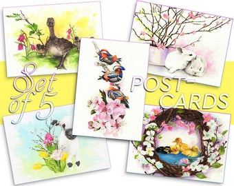 Watercolor POSTCARDS SET, 5 Spring Easter watercolors, Handmade Watercolour prints, Customized original A6 postcard