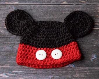Mickey Newborn Hat, Black and Red Newborn Hat, Mickey Baby Hat, Mickey Newborn Prop, Newborn Prop, Black and Red Baby Hat