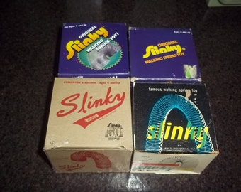 Vintage Slinky - set of 4 - with original boxes - in excellent condition!