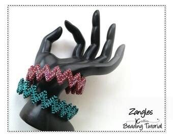 Beading Patterns, Tutorials, Instructions,  Zig Zag Bangles, MRAW, Diagonal Peyote stitch, ziggered bangle, Instant Download Pattern ZANGLES