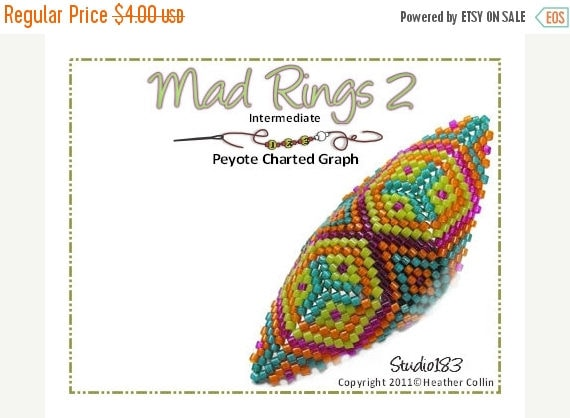 20% off Beading Pattern, Instructions, Tutorial, Shield Shaped Peyote Stitch, Delica Beads, Charted design, Tribal Instant Download MAD RING