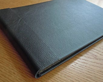 Large Black Leather Blank Guest Book Album