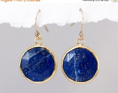 GIFTS SALE - Blue Lapis Earrings - September Birthstone Earrings - Round Gemstone Earrings - Gold Earrings - Drop Earrings