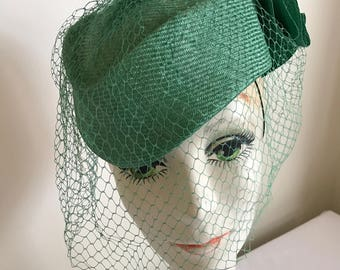 Vintage Green Straw Hat with Veil by Adolpho II Derby