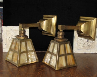 Vintage Pair Arts and Crafts / Mission Brass Wall Sconces FREE SHIPPING to the USA