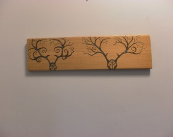 Skull and antlers portrait on cedar scrap wood original one of a kind pyrography for the wall