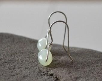 Jade Earrings, Small Dangle Earring, Mint Green Earrings, Gemstone Earrings
