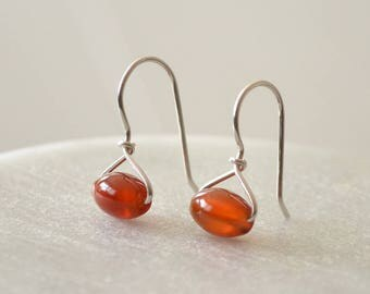 Red Agate Earrings, Red Earrings, Natural Stone Earrings, Handmade Earrings, Unique Gifts